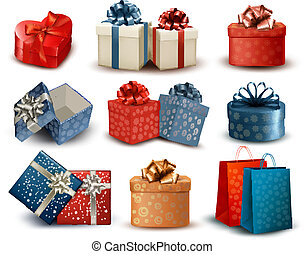 Set of colorful retro gift boxes with bows and ribbons....