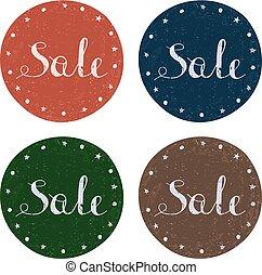 Set of colorful retro Sale labels.