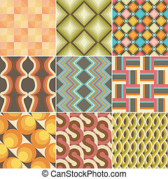 Set of Colorful Retro Seamless Pattern