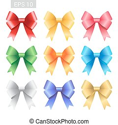 Set of colorful ribbon tied bows in vector format for gift card, greeting card or thank you card and other decoration