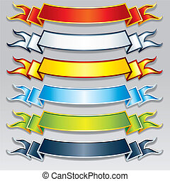 Set of Colorful Ribbons and Banners. Vector Image