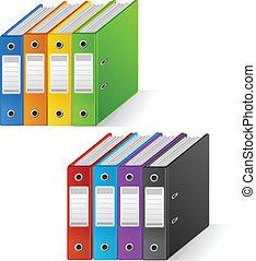 Set of colorful ring binders rainbow