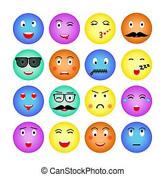 Set of colorful round emojis. Isolated on white background. Emoticon for web site, chat, sms. Vector illustration. Vector