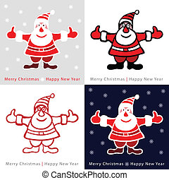 Set of Colorful Santa Claus cards for your design