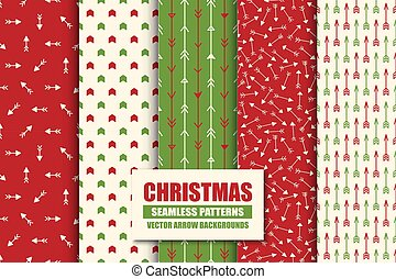 Set of colorful seamless geometric arrow patterns - xmas design. Christmas vector bright ret backgrounds - vint style. Creative trendy endless textures for wrapping paper, covers, wallpapers and etc.