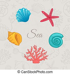 Set of colorful seashells with seamless pattern