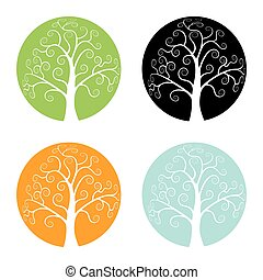 Set of Colorful Season Tree icons