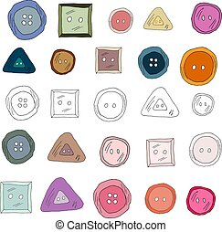 Set of colorful sewing buttons. Doodle hand drawn illustration vector