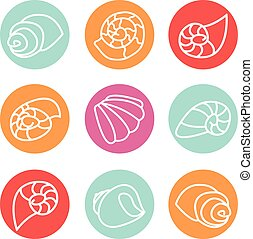 Set of colorful shell illustration icons