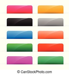 set of colorful shiny web buttons