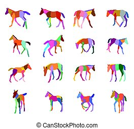 Set of colorful silhouettes of foals