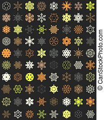 Set of colorful snowflakes