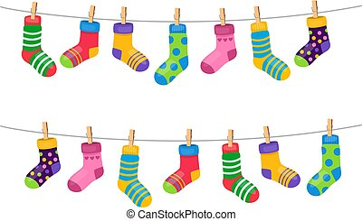 Set of colorful socks hanging on the rope