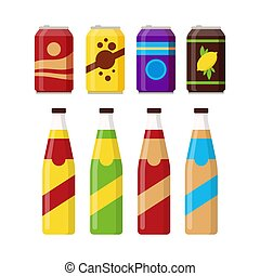 Set of colorful soft drinks in glass bottle and aluminum tins isolated on white background. Different cold drinks, carbonated water with flavors, soda cans for vending machine. Flat vector illustration