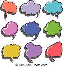 Set of colorful speech bubble