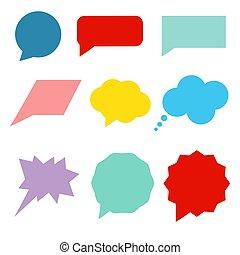 Set of colorful speech bubbles. Flat vector illustration.