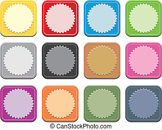 set of colorful square button