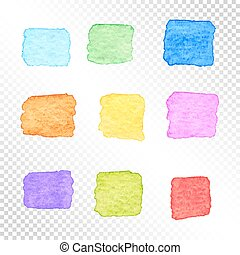 Set of Colorful Square Watercolor Spots on Transparent Background.