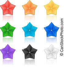 set of colorful stars on a white background