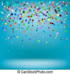 Set of Colorful Stars on Azure Background. Starry Pattern
