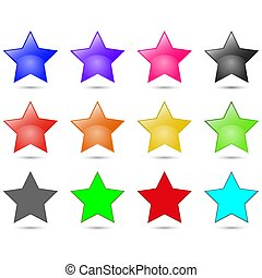 Set of colorful stars vector illustration isolated on white background.