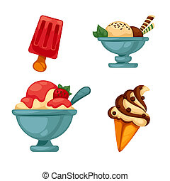 Set of colorful tasty ice cream. Isolated illustration