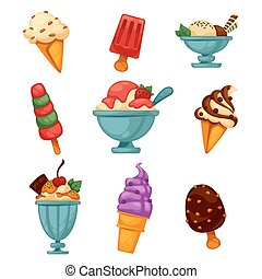 Set of colorful tasty ice cream. Isolated on white. Vector...