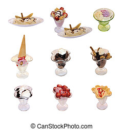 Set of colorful tasty isolated ice cream