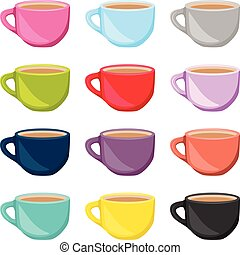 Set of colorful tea cups - Scalable vectorial image...