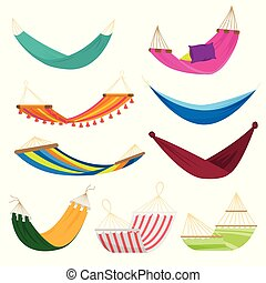 Set of colorful textile hammock for beach, home use