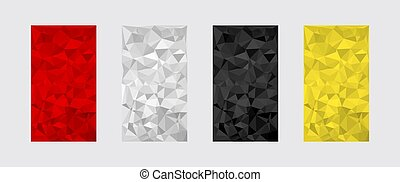Set of colorful textures. Low poly digital triangle shapes geometric pattern
