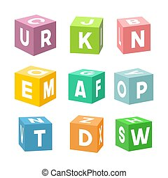 Set of colorful toy bricks with letters, vector