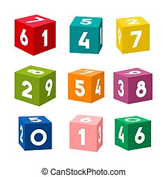 Set of colorful toy bricks with numbers, vector