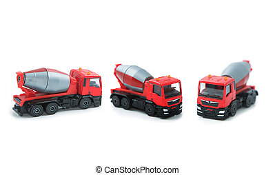Set of colorful toy truck isolated on white background
