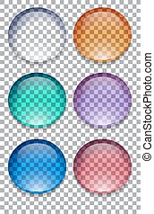 Set of colorful transparent buttons Vector element for your...