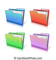 Set of colorful  transparent folder with papers.