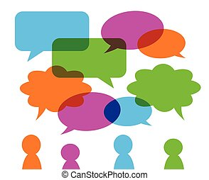 set of colorful transparent speech bubbles various shape, green orange blue pink and group of stylised people figures, vector eps 10