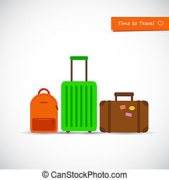 set of colorful travel suitcase