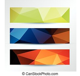set of colorful triangles pattern banners template, vector illustration