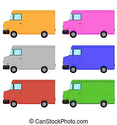 Set of Colorful Truck Isolated on White Background