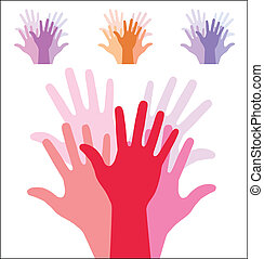 set of colorful up hands silhouette