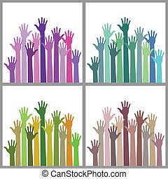 Set of colorful up hands