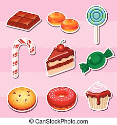 Set of colorful various candy, sweets and cakes stickers.