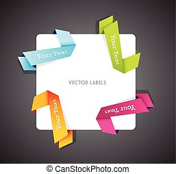 Set of colorful vector corner ribbons.