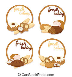 Fresh Baking price badges - Set of colorful vector Fresh...