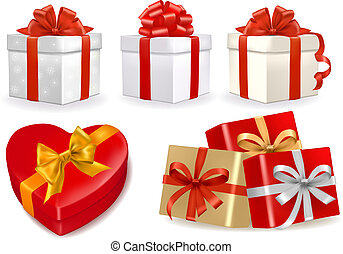 Set of colorful vector gift boxes with bows and ribbons