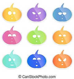 set of colorful vector Halloween pumpkins, cute and funny little faces,