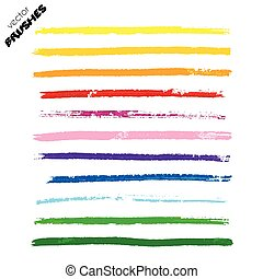 Set of colorful vector hand drawn paint lines