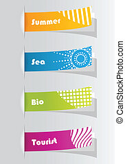 set of colorful vector sample stickers for your website