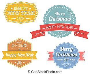 Set of colorful vintage retro Christmas labels
